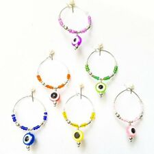 Set of 6 Evil Eye Wine Glass Charms Lucky Inspiration Silver Plater Ring Colors