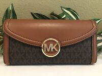 MICHAEL KORS FULTON LARGE FLAP CONTINENTAL WALLET BROWN LEATHER SIGNATURE $198