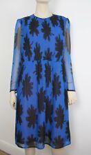 Vintage Dress. 1980s. Blue & black print. Pleated day dress. Long sleeves. Sz 12