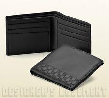 GUCCI Mens black Leather MICRO GUCCISSIMA Accent Bifold wallet NIB Authentc $350