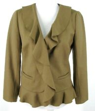 J. Crew Blazer Sz 4 Brown Wool Blend Jacket Ruffle Jacket Womens NWOT