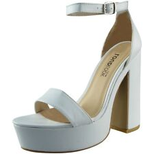 Womens Ladies Ankle Strap Platform Chunky Block Heel Party Sandals Shoes Size
