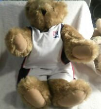 """Vermont Teddy Bear 16"""" Plush in Basketball Outfit, 1990s, With Original Tags VG"""
