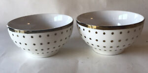 "2- Nicole Miller HOME Gold Trim Polka Dot 4"" Bowls"