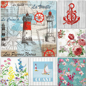 5 x Single Paper Table Napkins for Decoupage * ROSES * NAUTICAL * FLOWERS * SEA