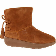 £120 FITFLOP Mukluk Shorty Brown Sue Shearling Tassel LaceUp Comfy SlipOn Boot 4