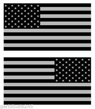 "Subdued American Flag sticker decal 3"" mirrored reverse set USA US MATTE VINYL"