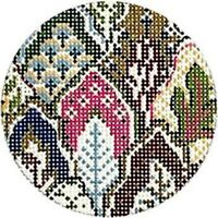 Needlepoint Handpainted Kelly Clark Oberkamp Leaf Round 3.25""