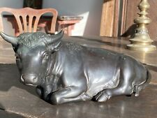 More details for japanese bronze meiji period bull early 20th century