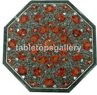 "18"" Marble Top Coffee Table Carnelian Floral Marquetry Inlay Garden Decors B162"