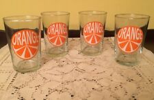 ADORABLE FOUR SMALL VINTAGE ORANGE JUICE GLASSES 6 oz