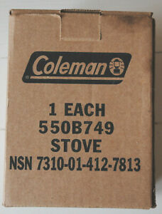 COLEMAN, 550B749, GI STOVE, NEW IN BOX, NSN, DATED 1/1996