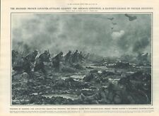 1918  ANTIQUE PRINT WW1 -FRENCH INFANTRY CHARGE