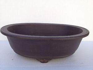 """Unglazed Zisha Bonsai Tree Oval Pot:11.5""""(l) #H-161-3"""