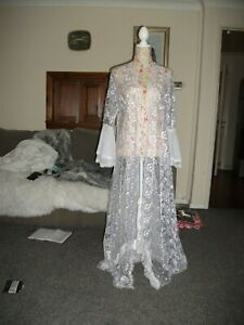 LONG WHITE BRIDAL LACE DRESSING GOWN ROBE NIGHTDRESS SIZE 14-16 UNBRANDED