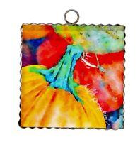 Round Top Collection NWT - Mini Vibrant Pumpkins Print - Metal & Wood