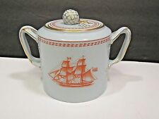 "Copeland Spode Covered Sugar 3 1/4"" Trade Winds Red Newport Tall Ships"