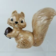 """Squirrel with Nut Figurine Ceramic Statue 10"""" Large Glass Cartoon Collectible"""