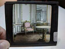COLORED Glass Magic Lantern Slide DOJ SITTING ROOM OF THE GREAT PALACE CHAIR ART