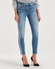 7 For All Mankind The High Waist Ankle Skinny Jeans With Silver Stripe 27 EUC!