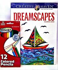 Adult Coloring: Creative Haven Dreamscapes Coloring Book With 12 ct Pencils
