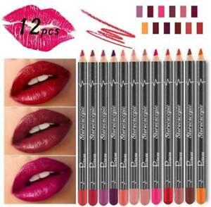 12 Colors Matte Mist Lipstick Lasting Non-stick Lip Gloss Lip Liner Set Makeup~