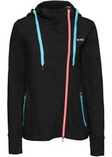 Damen long Sweat Shirt Jacke schwarz mit Kapuze Sport Zip Hoody S M L XL neu 019