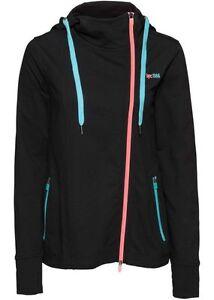 Damen lang Sweat Shirt Jacke schwarz mit Kapuze Sport Zip Hoody S M L neu 019