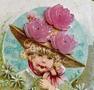 Vintage Pink Roses Cabochons,Rose quartz Cabochons, Carved Roses,13mm, #1682