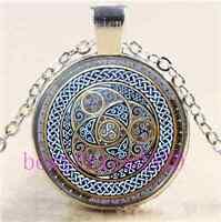 Celtic Mandala  Photo Cabochon Glass Tibet Silver Chain Pendant Necklace