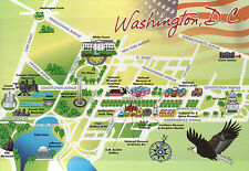 Washington D.C. State Map, National Mall, White House, Us Capitol 5 x 7 Postcard