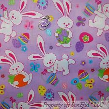 BonEful FABRIC FQ Cotton Quilt Purple White Pink Easter Bunny Egg Spring Flower