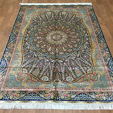 Royal Blue Collection Carpet Stunning Hand Knotted Silk Rug 5 x 7 ft Art Work