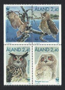 Aland Is. Eagle Owls WWF Birds Block of 4 1996 MNH SG#105-108 CV£8.-