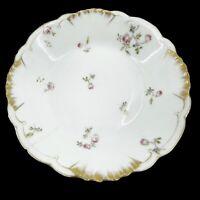 CFH GDM CH Field Haviland Limoges France Pink Flowers Scalloped Gold Trim Dish