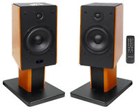 "(2) Rockville HD5 5"" Bluetooth Bookshelf Home Theater Speakers+Wood Stands"