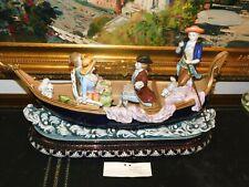 Estate Rare Large Dresden Collection Gondola Porcelain Sculpture - Signed