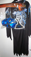 Halloween /Fancy dress party spooky blue skull reaper costume - for ages 9 to 10