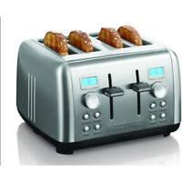 Stainless Steel Digital 4 Slice Bread Toaster Dual Control Defrost Bagel Reheat
