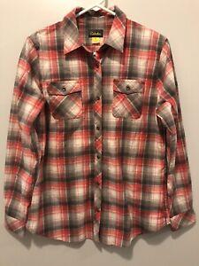Cabelas Womens Pink & Gray Plaid Shirt Size Medium NWOT