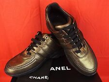 16K NIB CHANEL GOLDEN BROWN BLACK FABRIC LEATHER CC LOGO LACE UP SNEAKERS 41