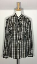 Country Road Plaid Shirt Sz 8 10 Black White Career Work Business NEW RRP $149❤️