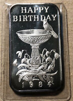 1984 Happy Birthday Madison Mint 1 Ounce .999 Silver Art Bar