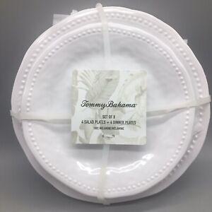 8pc Tommy Bahama Melamine 4 Dinner 4 Salad Plate Set White Wave Dotted Edge