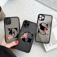 Cute Initial Letter Phone Case Floral Transparent Cover For iPhone 12 11 X XS SE