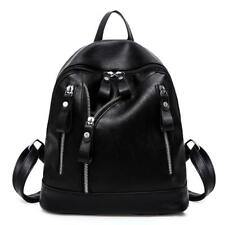 Women Backpack Faux Leather Shoulder Bag Black Rucksack Travel School Satchel