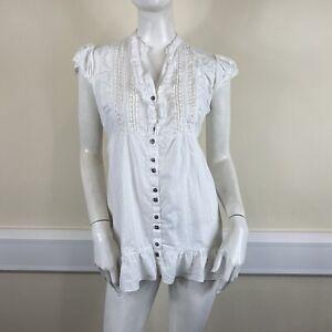 Dorothy Perkins Ladies White Pintuck Stripe Cap Sleeved Blouse Top UK Size 12