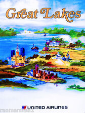 Great Lakes New York Vintage United States Travel Advertisement Art Poster