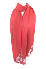 Rojo Alta Calidad Pashmina Pañuelo Chal Estola Tiras Hijab 100% VISCOSA