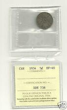 1934  Canada 5 Cent ICCS EF-40